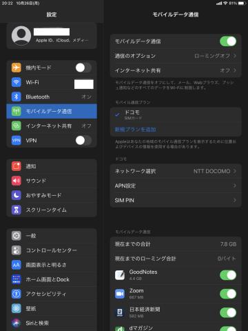 iPad mini設定画面